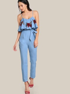 Self Belt Rose Patch Flounce Jumpsuit