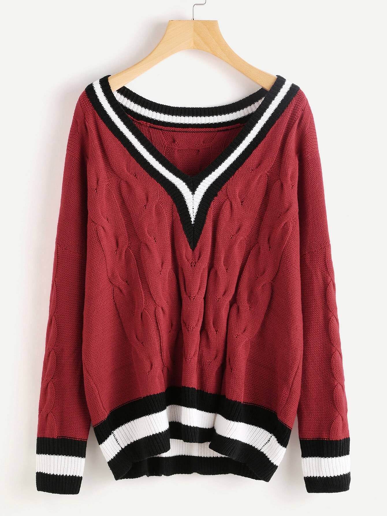 Varsity Striped Trim Cable Knit Jumper pearls beaded cable knit jumper