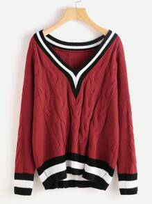 Varsity Striped Trim Cable Knit Jumper