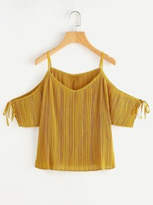 Tie Detail Cold Shoulder Pleated Top
