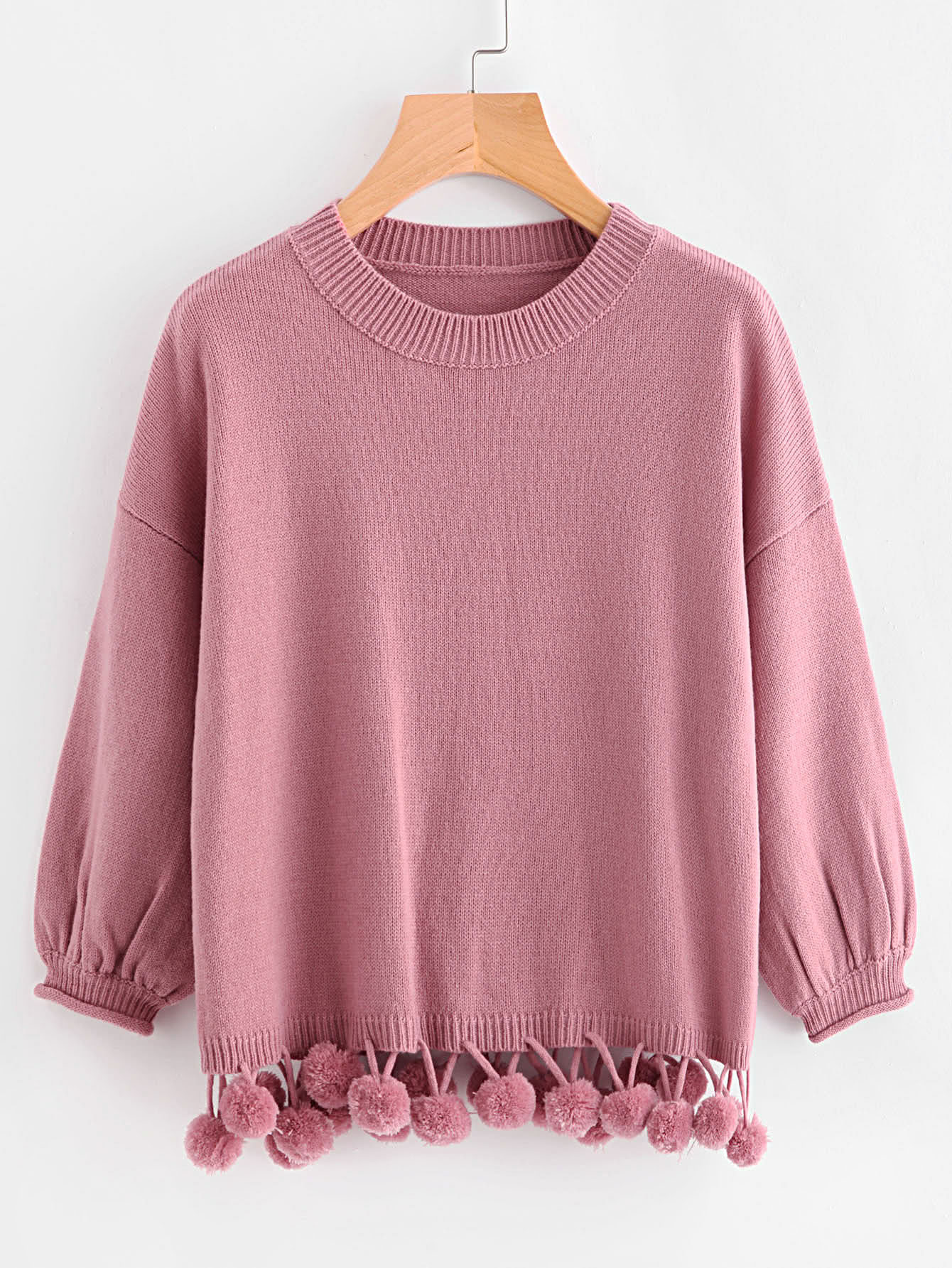 Lantern Sleeve Pom Pom Trim Jumper open shoulder pom pom trim top