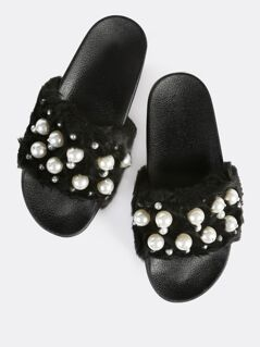 Faux Fur Pearl Slides BLACK