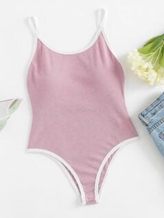 Contrast Binding Rib Knit Cami Bodysuit