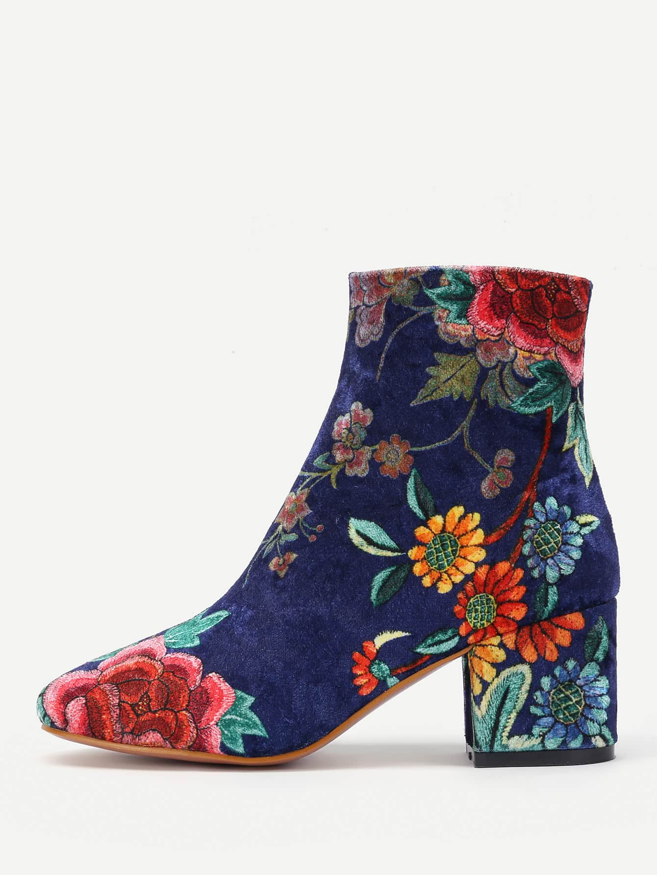 Floral Print Side Zipper Ankle Boots