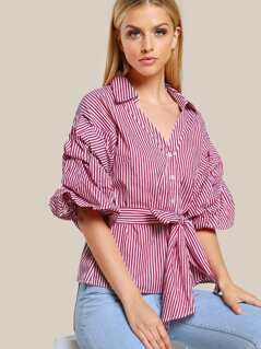 Puffed Sleeve Striped Button Up BRGUNDY