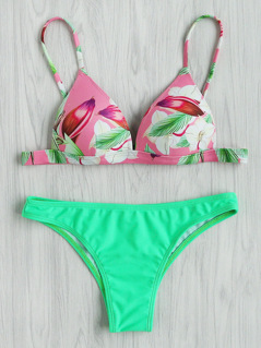 Tropical Print Mix And Match Bikini Set