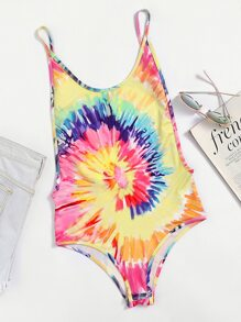 Spiral Tie Dye Low Side Scoop Cami Bodysuit