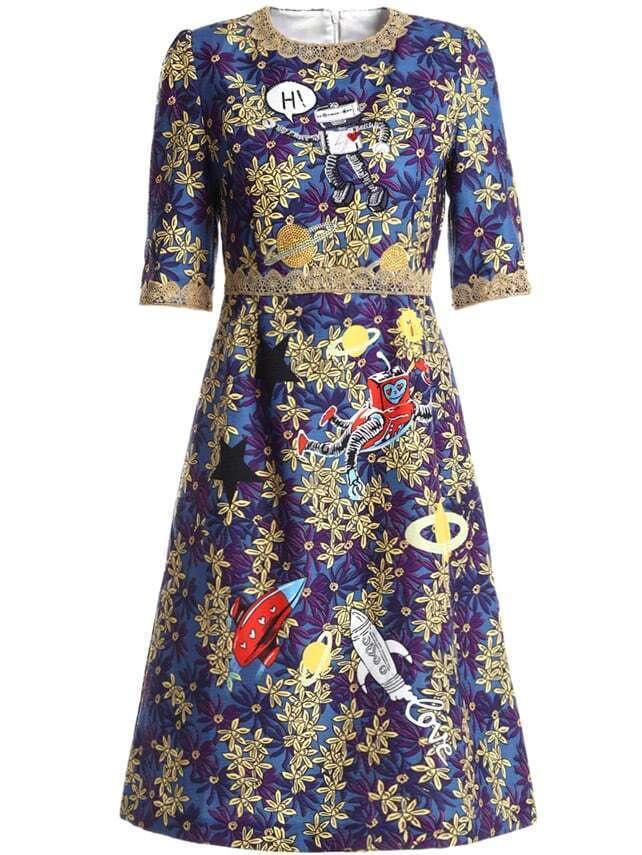 Фото Leaves Jacquard A-line Dress. Купить с доставкой