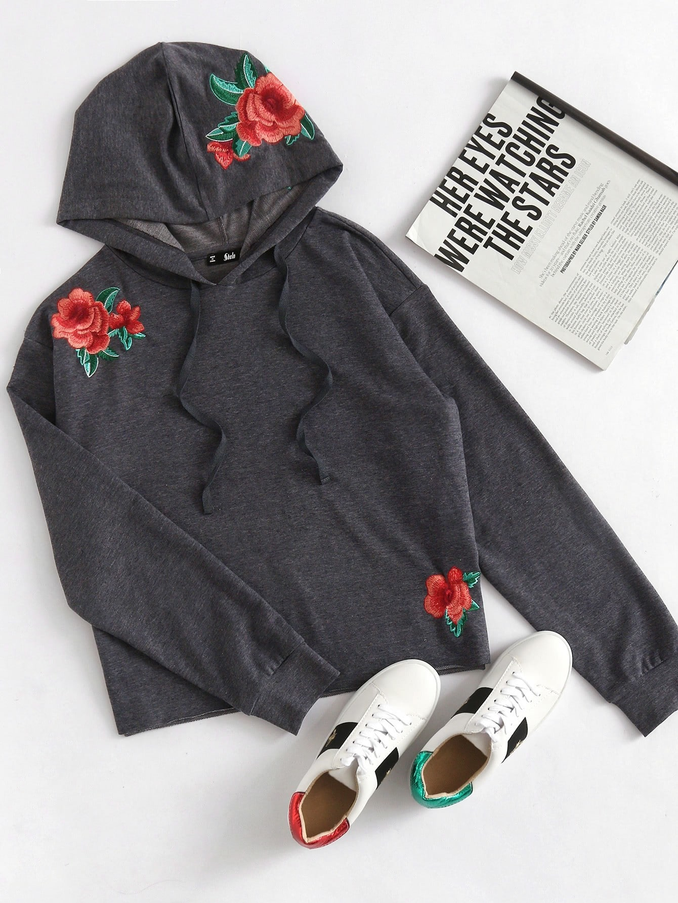 Rose embroidered heather knit hoodie makemechic