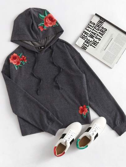 Rose Embroidered Heather Knit Hoodie