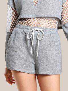 Fishnet Cut Out Drawstring Shorts HEATHER GREY