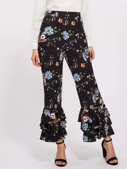 Tiered Ruffle Hem Botanical Pants