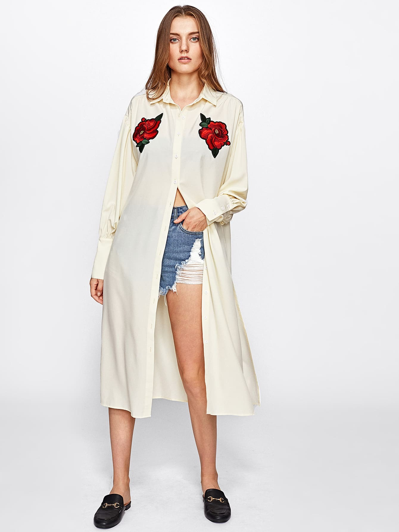 Embroidered Rose Applique Slit Longline Blouse embroidered rose applique side split belt dress