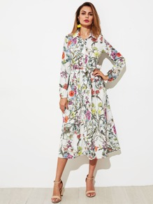 Botanical Print Self Belted Shirt Dress