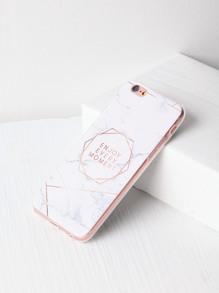 Marble Pattern With Letter Print iPhone Case