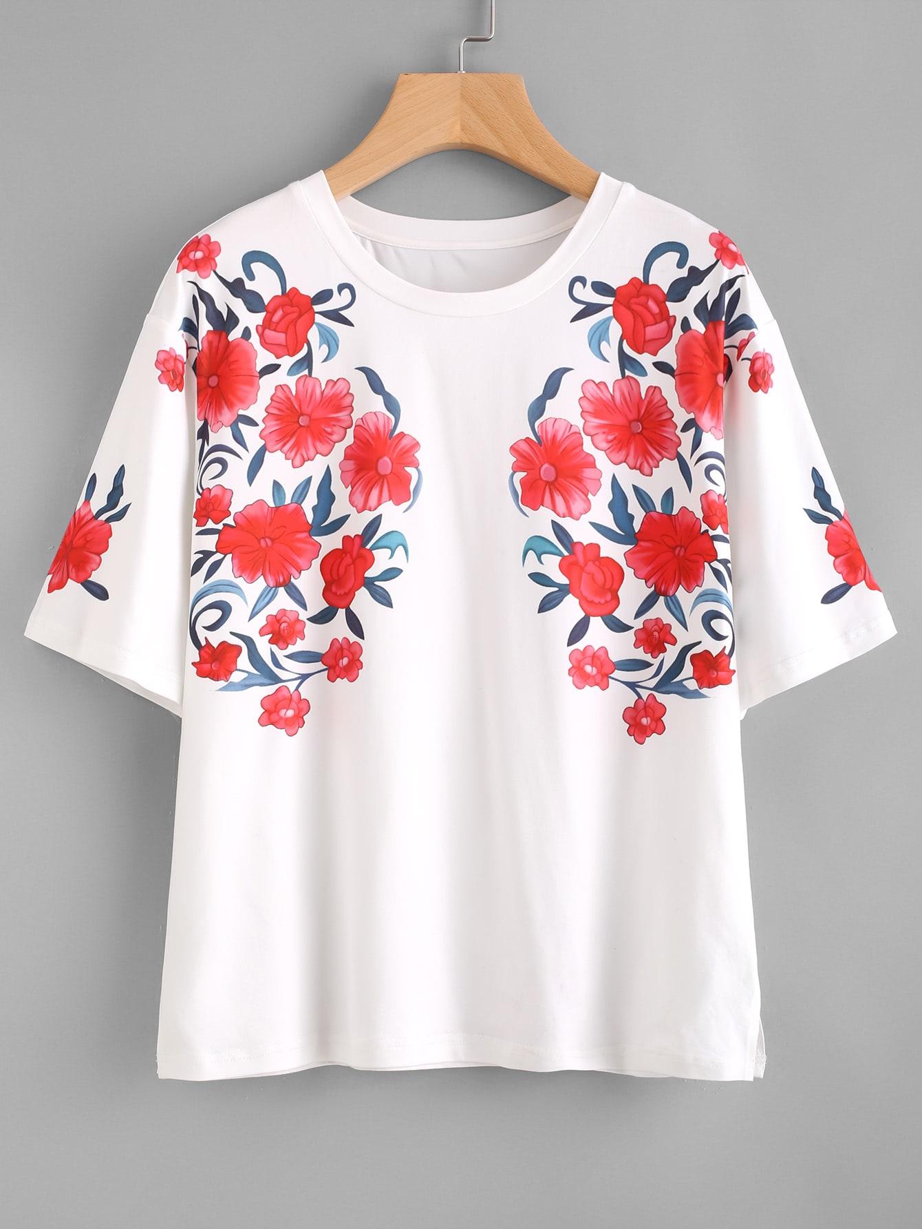 Фото Symmetrical Flower Print Drop Shoulder Tee. Купить с доставкой