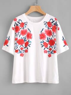 Symmetrical Flower Print Drop Shoulder Tee