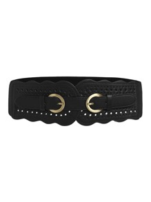 Scalloped Trim Laser Cut Buckle Belt