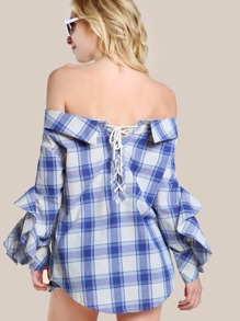 Off Shoulder Lace Up Plaid Shirt BLUE