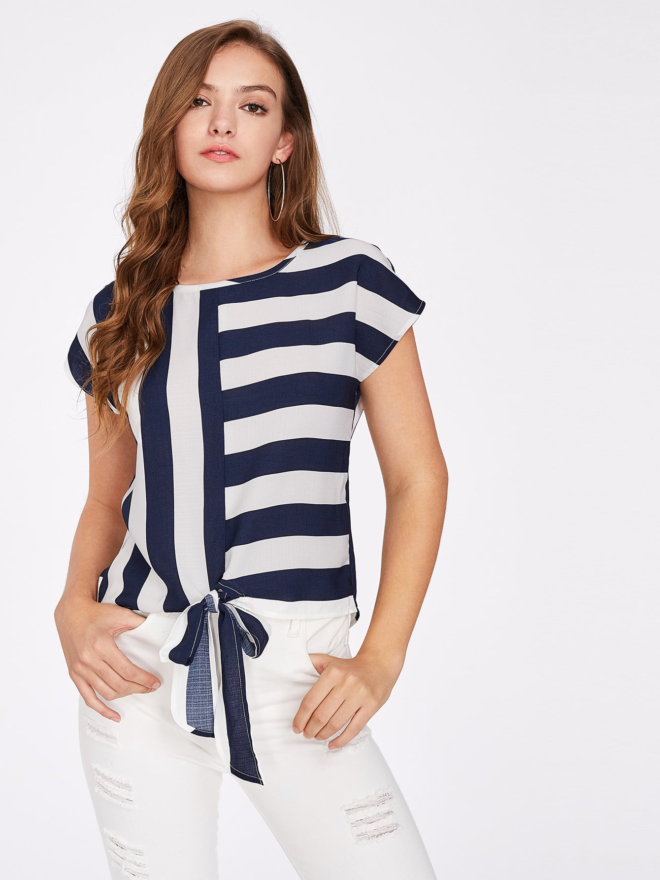 Mixed Striped Tied Front Top blouse170711702