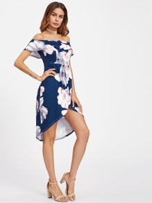 Flounce Layered Tulip Hem Florals Dress