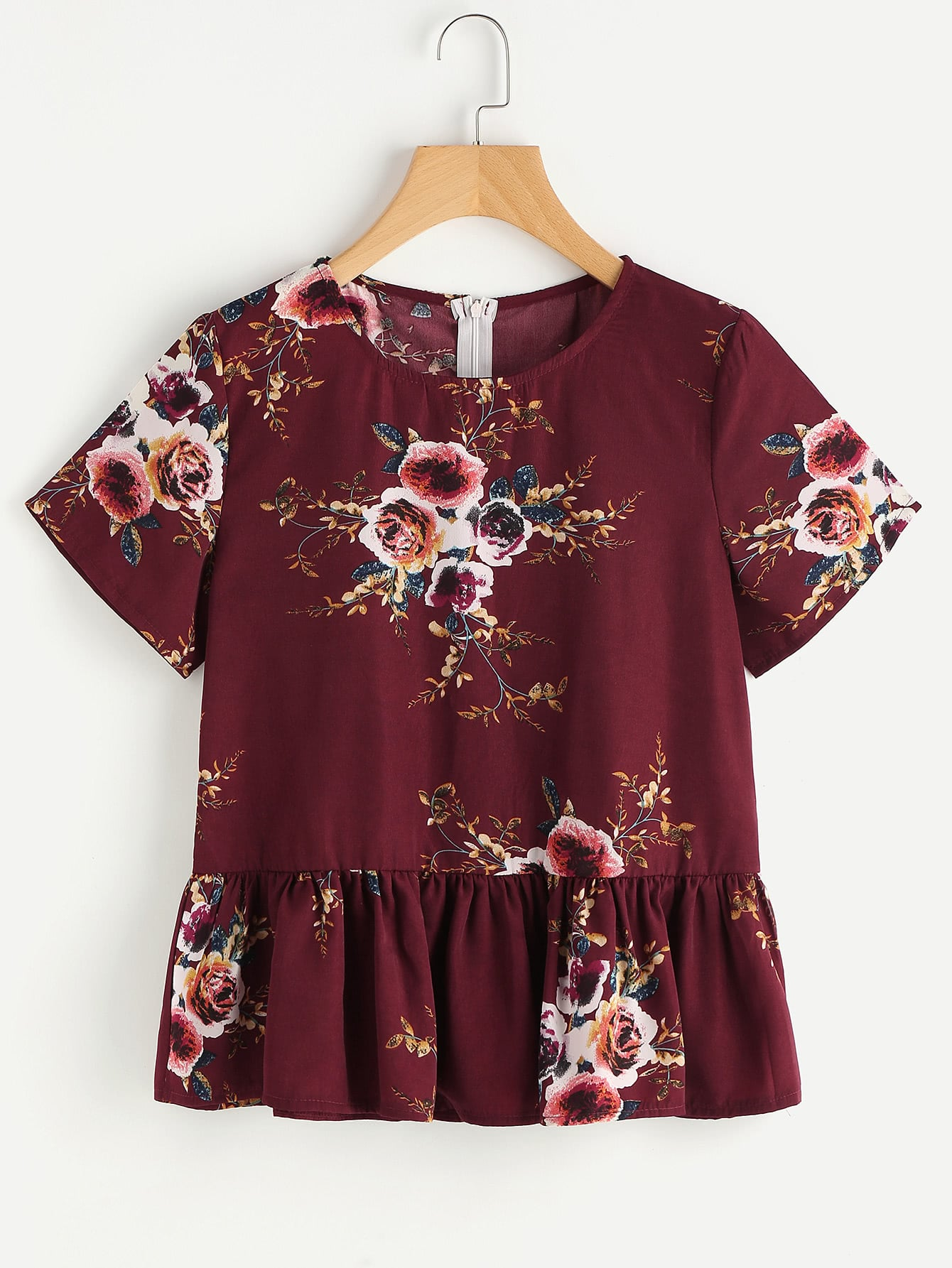 Floral Print Random Frill Hem Blouse kids floral embroidery frill blouse