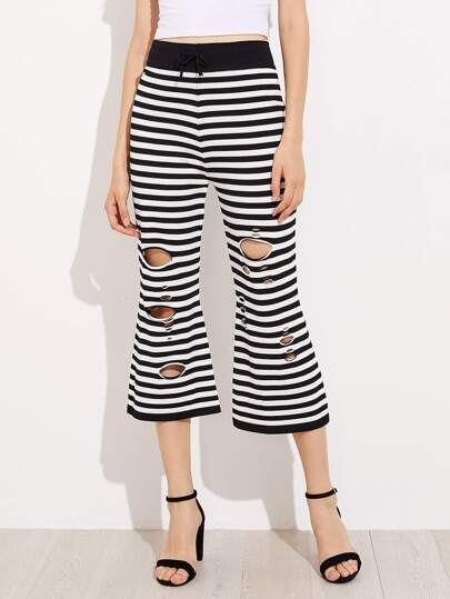 Striped Drawstring Waist Ripped Flare Crop Pants