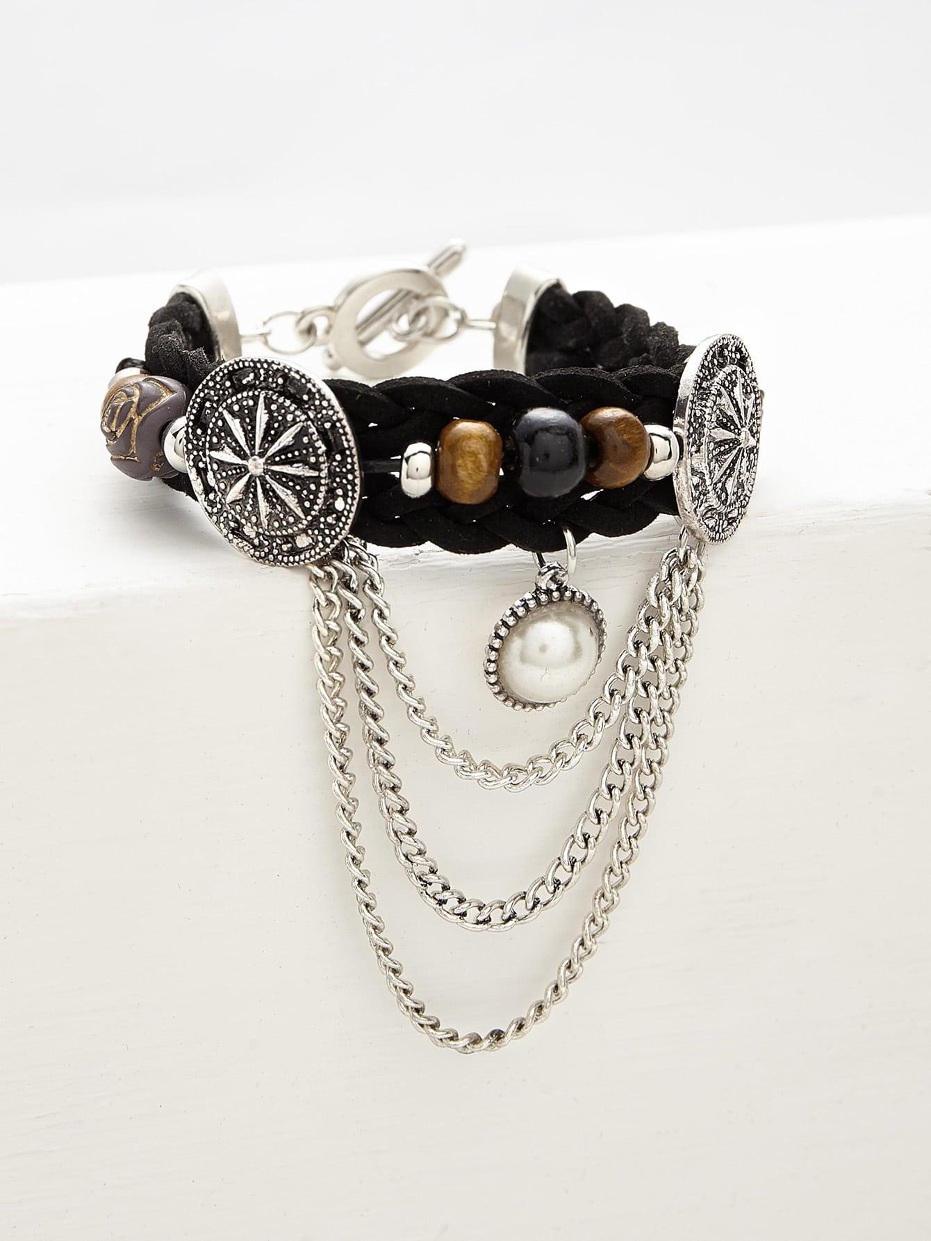 Фото Faux Pearl & Chain Detail Woven Bracelet. Купить с доставкой