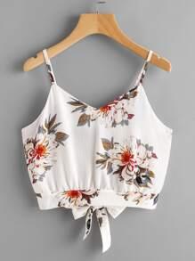 Camisole fendue imprimée fleuri avec nœud