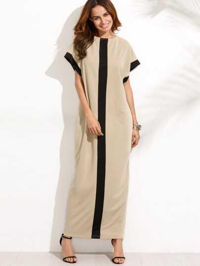 فستان طويل مربع الألوان كُم قصير بجيب