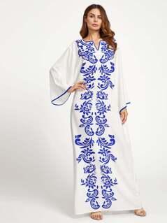 V Notch Contrast Binding Kaftan Dress