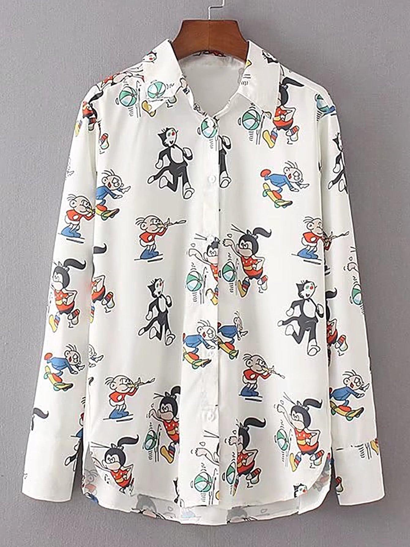 Cartoon Print High Low Blouse blouse170714201
