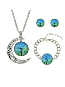 Tibetan Silver Design Green Color Stone Tree Pattern Necklace Earrings Bracelets Set