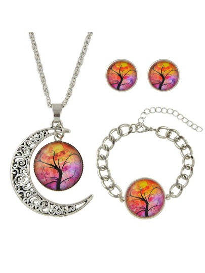 Tibetan Silver Design Yellow Color Stone Tree Pattern Necklace Earrings Bracelets Set
