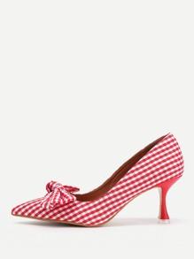 Bow Tie Detail Gingham Stiletto Heels