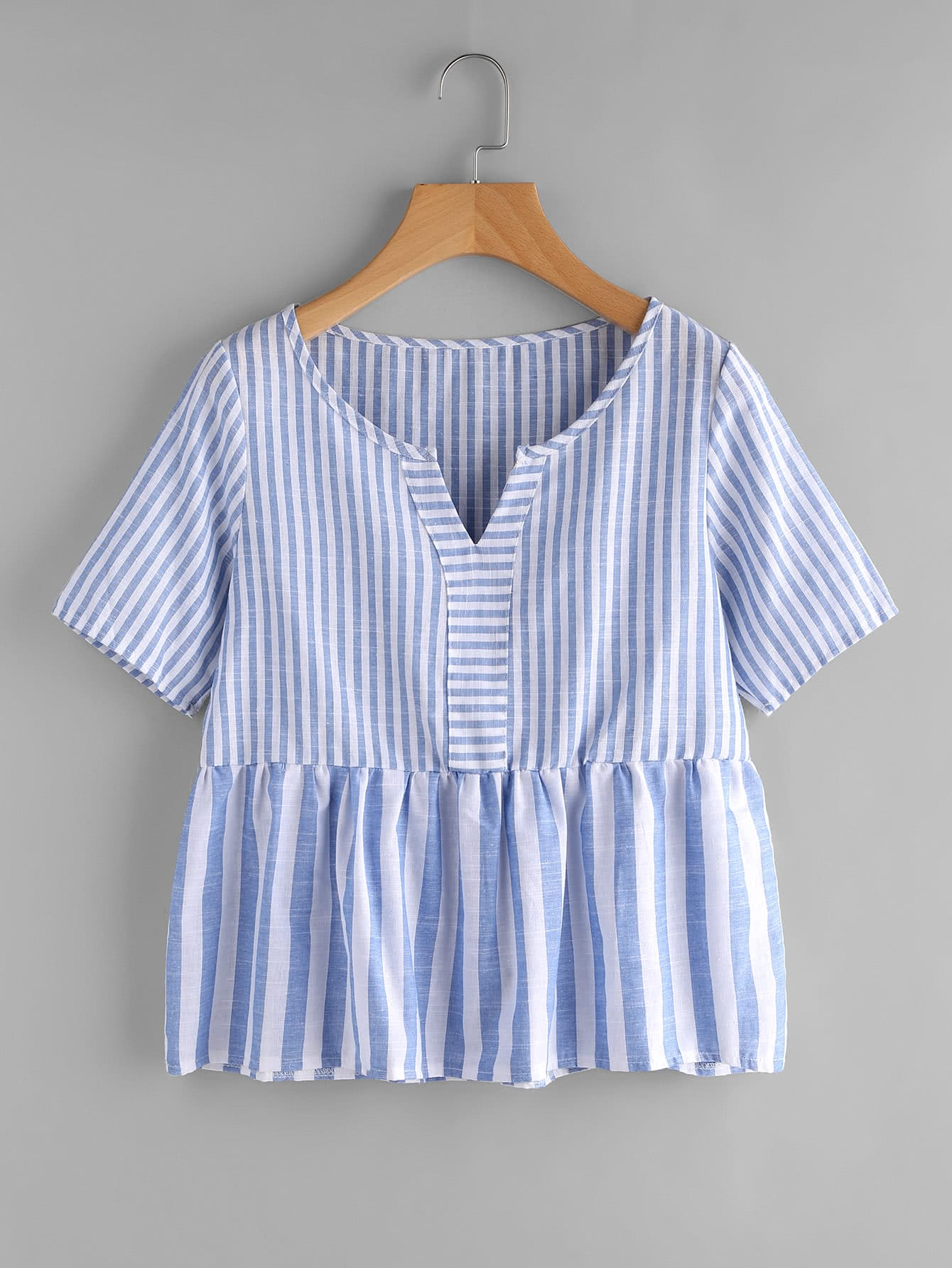 Фото Contrast Striped V Cut Smock Blouse. Купить с доставкой