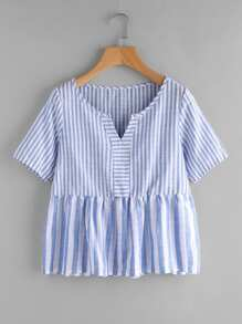 Contrast Striped V Cut Smock Blouse