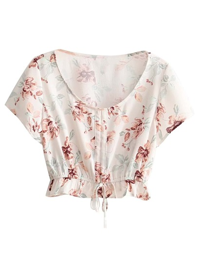 Drawstring Hem Floral Crop Top