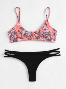 Flower Print Cut Out Side Bikini Set