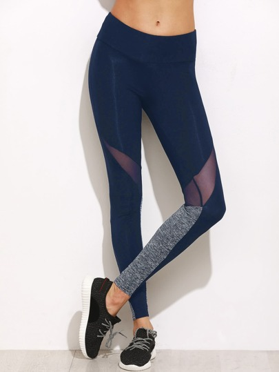 Leggins de color block con malla insertada