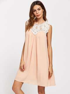Contrast Crochet Yoke Buttoned Keyhole Back Dress