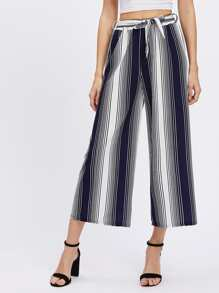 Vertical Striped Self Tie Wide Leg Pants