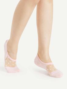 Polka Dot Mesh Insert Invisible Socks