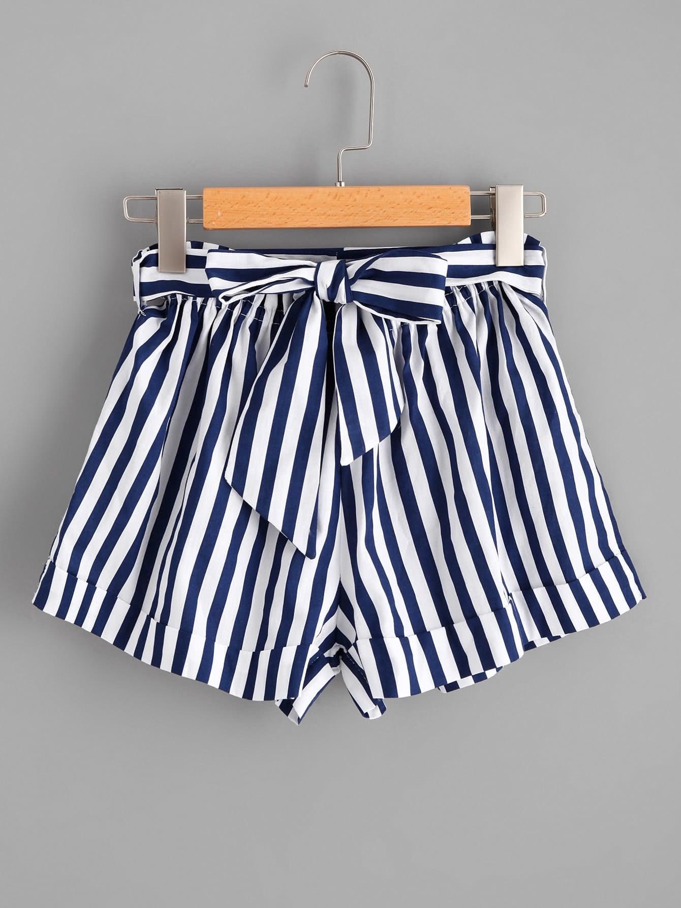 Striped Self Tie Waist Shorts striped ruffled waist self tie pants