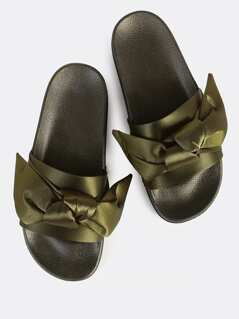 Satin Bow One Band Slides OLIVE