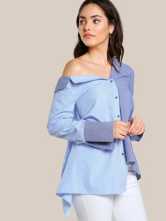 Two Tone Long Sleeve Button Up Top BLUE