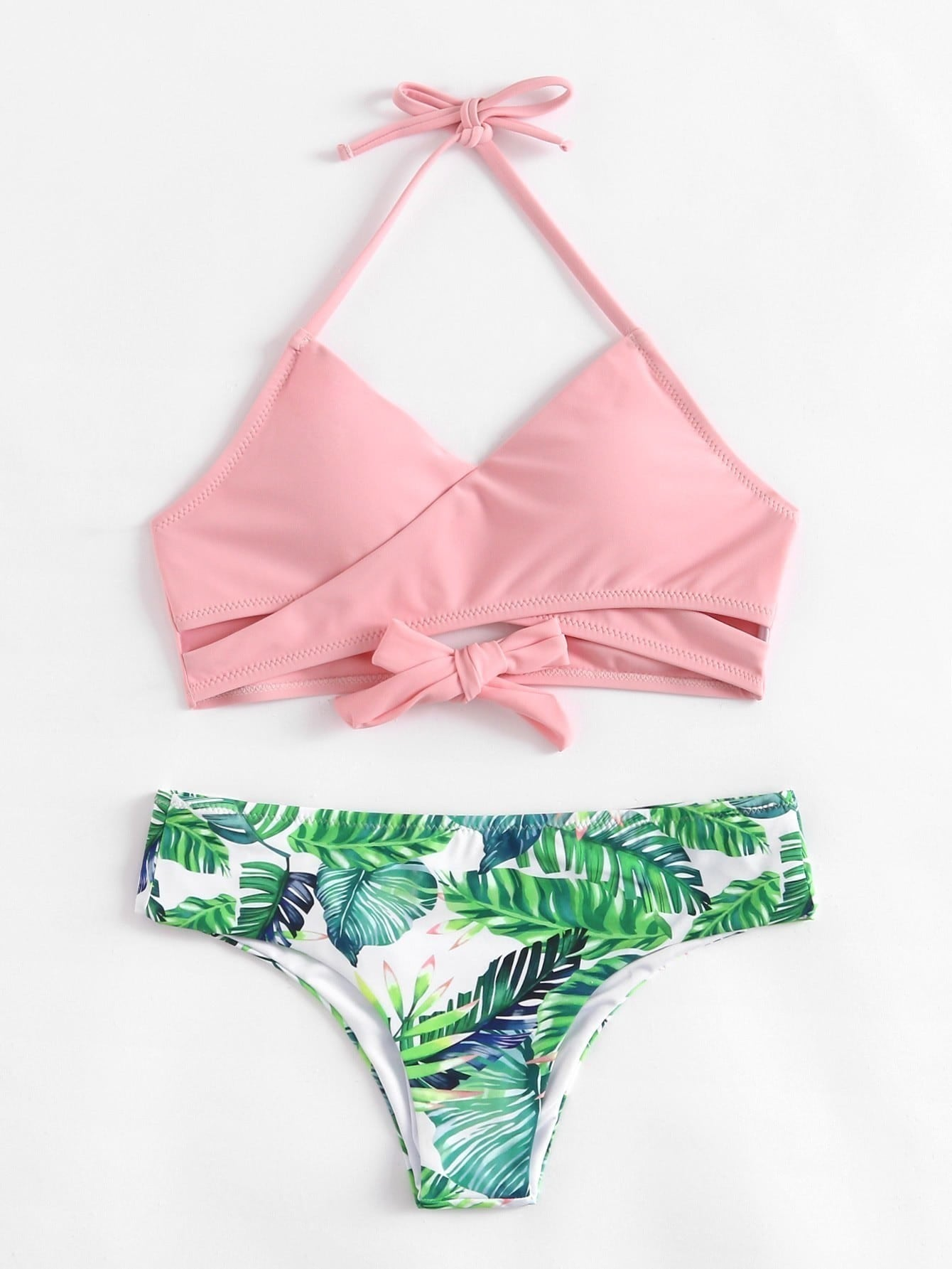 Palm Print Wrap Self Tie Bikini Set bone print self tie bikini set