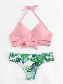 Palm Print Wrap Self Tie Bikini Set