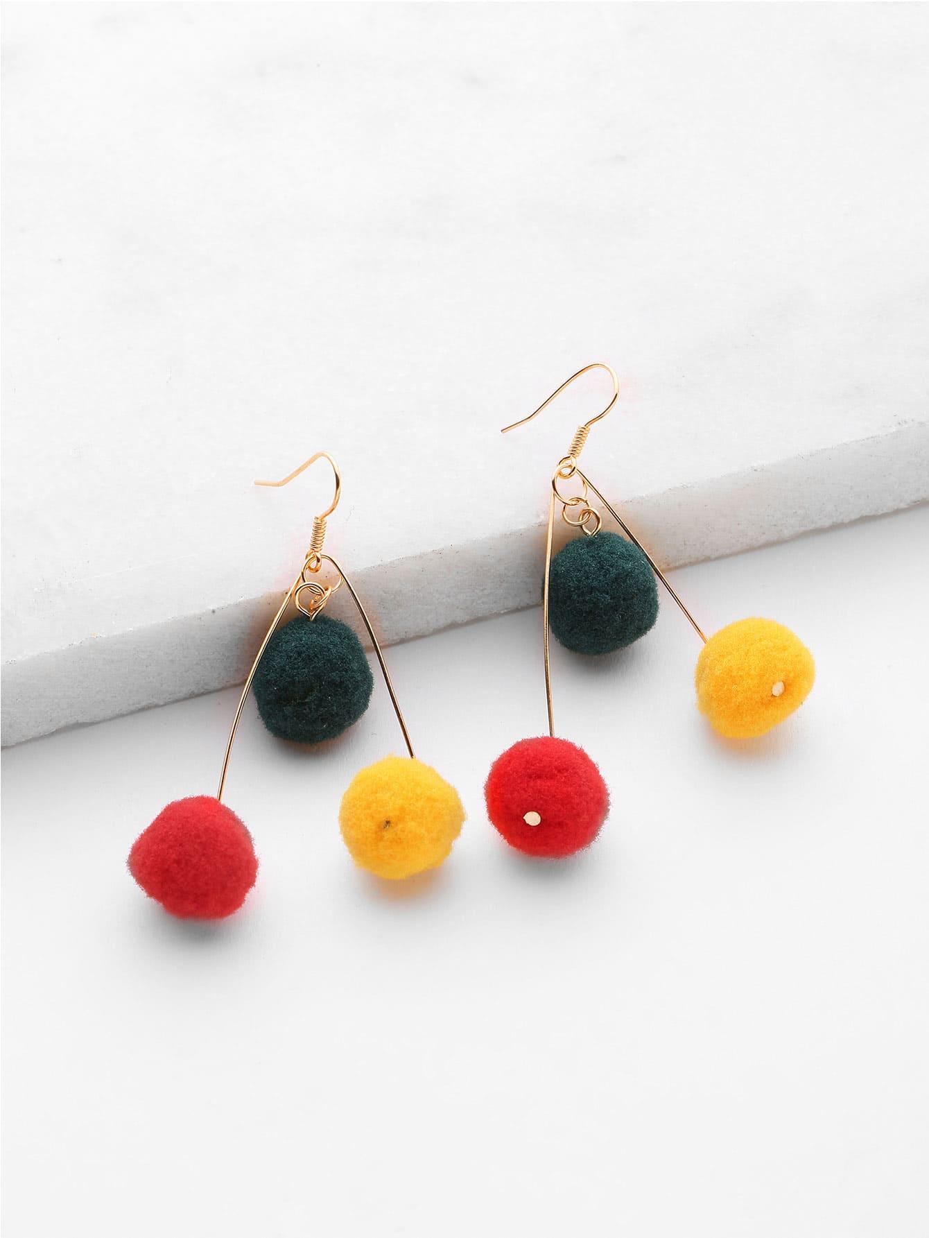 Фото Pom Pom Design Drop Earrings. Купить с доставкой