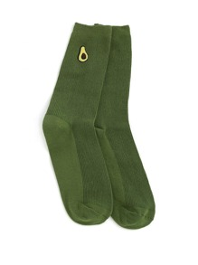 Fruit Embroidery Calf Length Socks